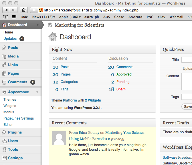 Screenshot of a WordPress admin page