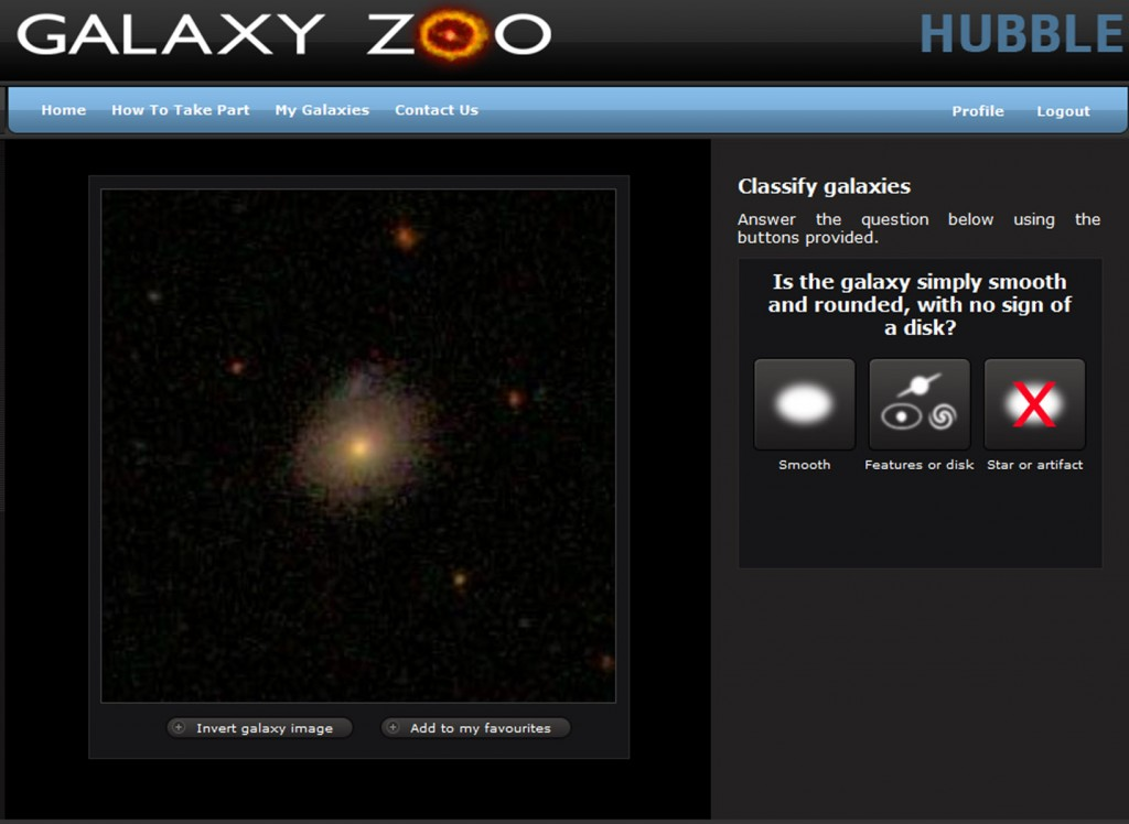 Galaxy Zoo screenshot