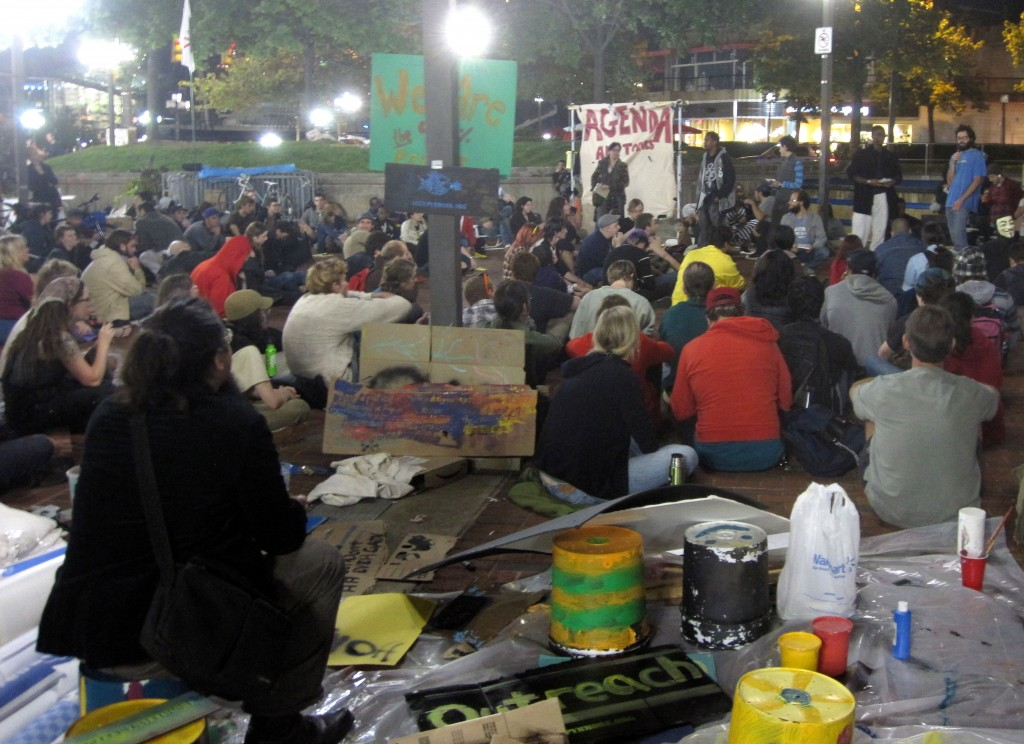 A meeting of the Occupy Baltimore movement.